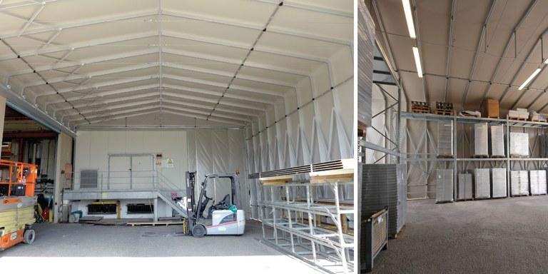 Ausziehbares Lagerzelt als Industrielager