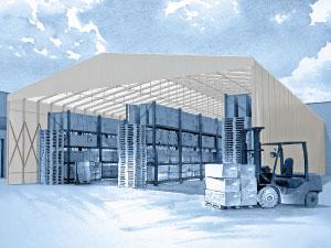 Capannone mobile in alluminio per magazzini temporanei