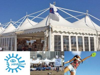 Die Pagodenzelte von Giulio Barbieri beherbergen den Weltcup des Beach Ultimate in Rimini