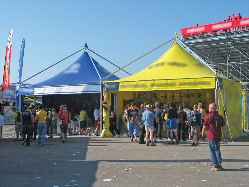 MotoGP race tents for Pritelli and Valentino Rossi