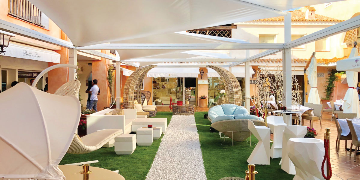 Triangular shade sails for Porto Cervo