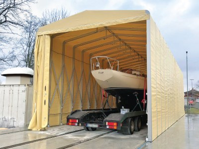 A temporary building for the yacht yard where Teuton 800 - the smallest ever custom boat - was built
