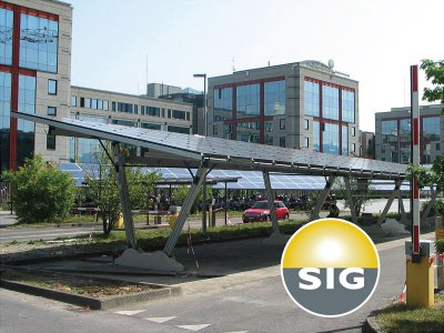 Switzerland - The solar carport Energy Parking with a 400 kW plant for the swiss company Services Industriels de Genèvé