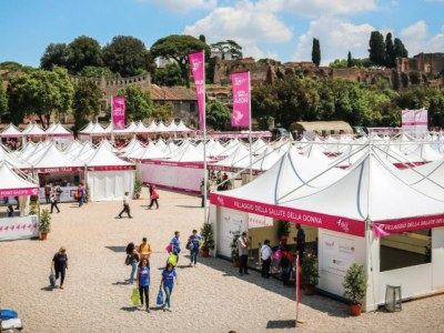 The Giulio Barbieri festival tents are dyed pink, bringing colour the Circus Maximus in Rome