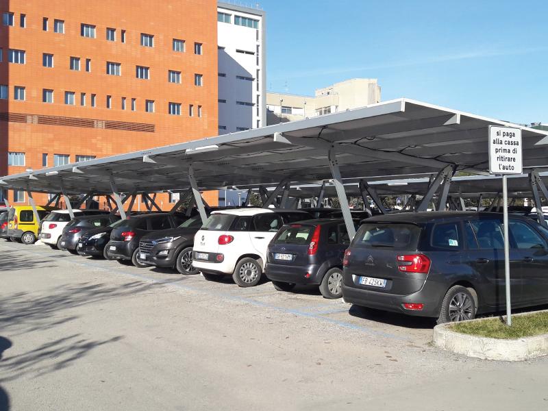 The public hospital of Ravenna chooses 4 solar carports for its solar energy self-consumption