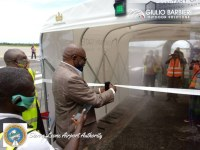 The sanitizing tunnel Sanitary Gate lands at Freetown-Lungi International Airport in Sierra Leone