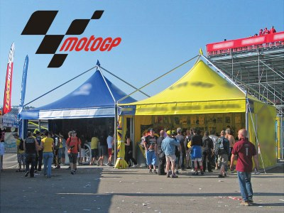 Giulio Barbieri provides race tents for a well-known MotoGp team