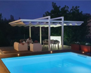 Retractable awning for private residence