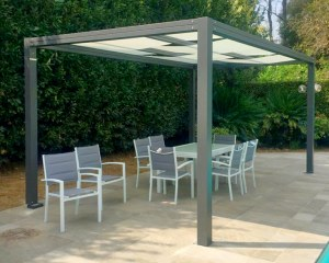 Outdoor pergola for Petroselli S.r.l. in Rome