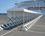 Covered walkway at the Civitavecchia harbour in Rome, Italy