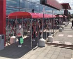 Covered walkway for a supermarket