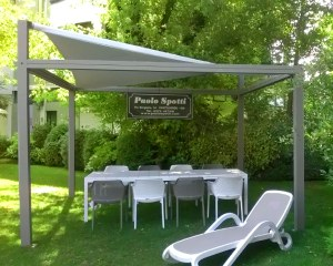 Pergola with shade sail for Paolo Spotti SNC