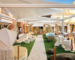 Pergola with shade sails in Porto Cervo