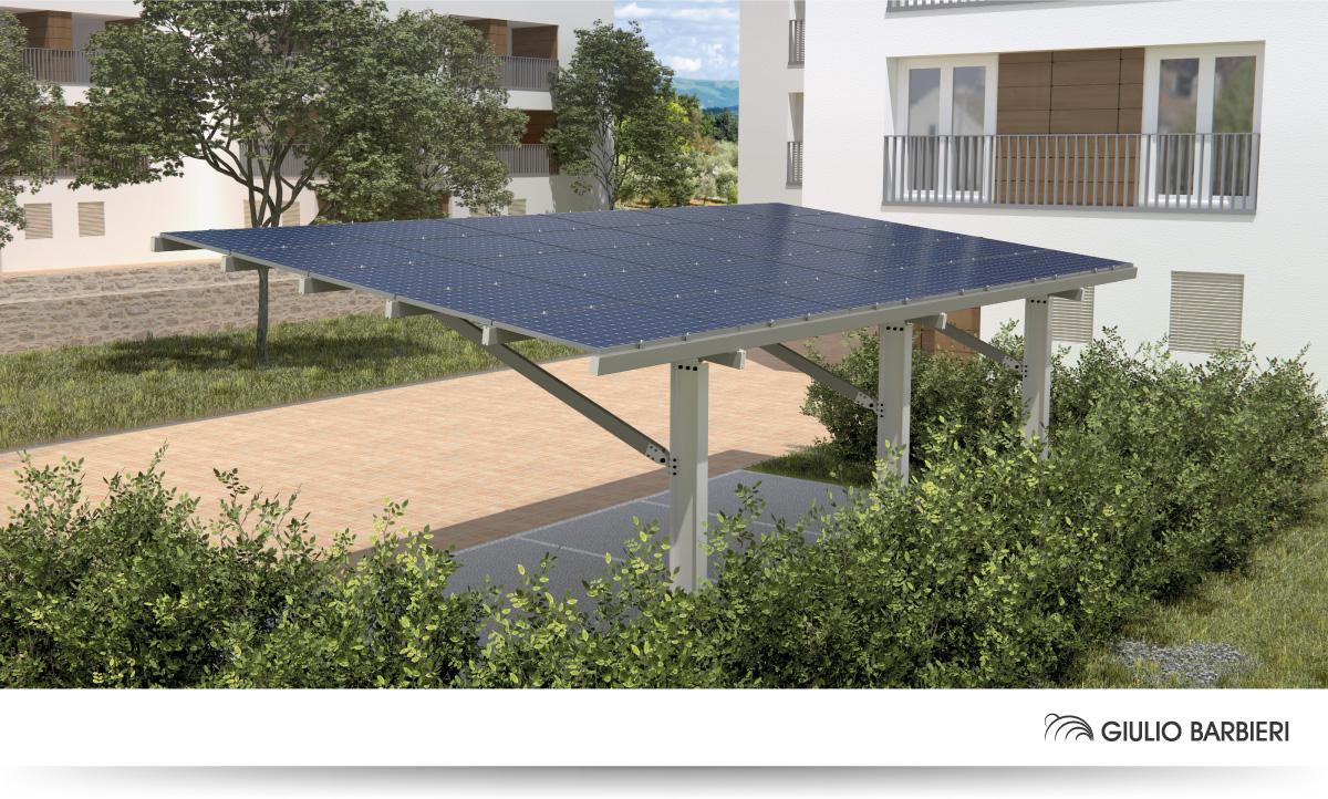 Carport solaire en aluminium Pensilsole