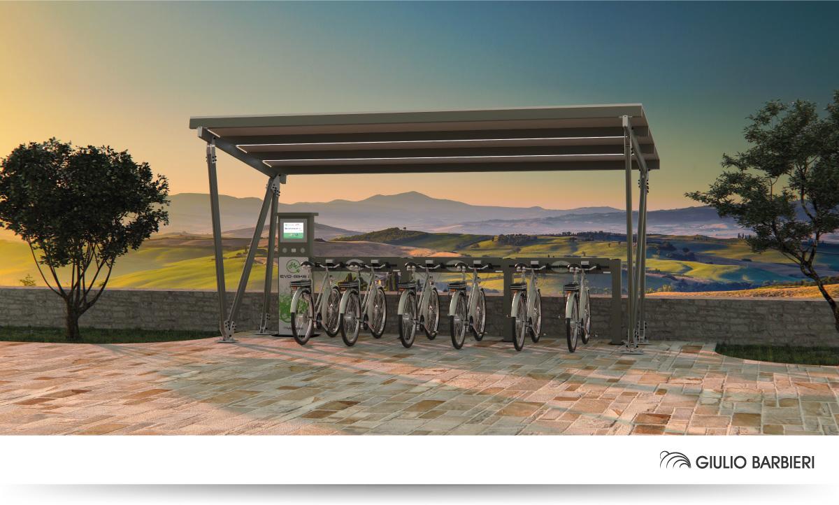 Carport solaire Pensilsole e station de rechargement Evo-Bike