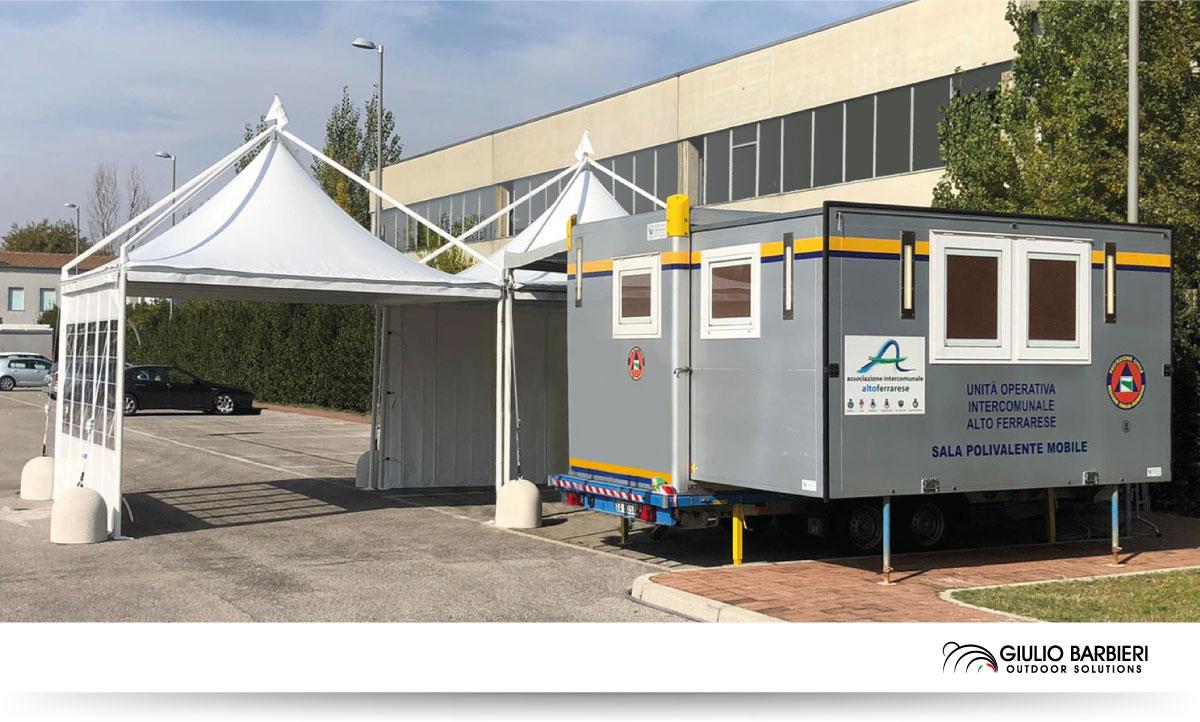 Gazebo en aluminium pour zone d'opération mobile