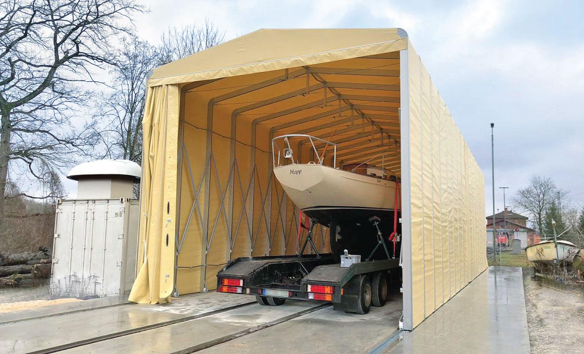 Tunnel rétractable pour chantier naval et pour stockage