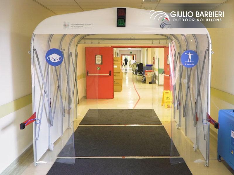 L'hôpital de Piacenza choisit les tunnels désinfectants Sanitary Gate pour son plan de sécurité