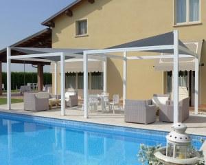 Voiles d'ombrage pour L'Anatra Restaurant à Modena en Italie