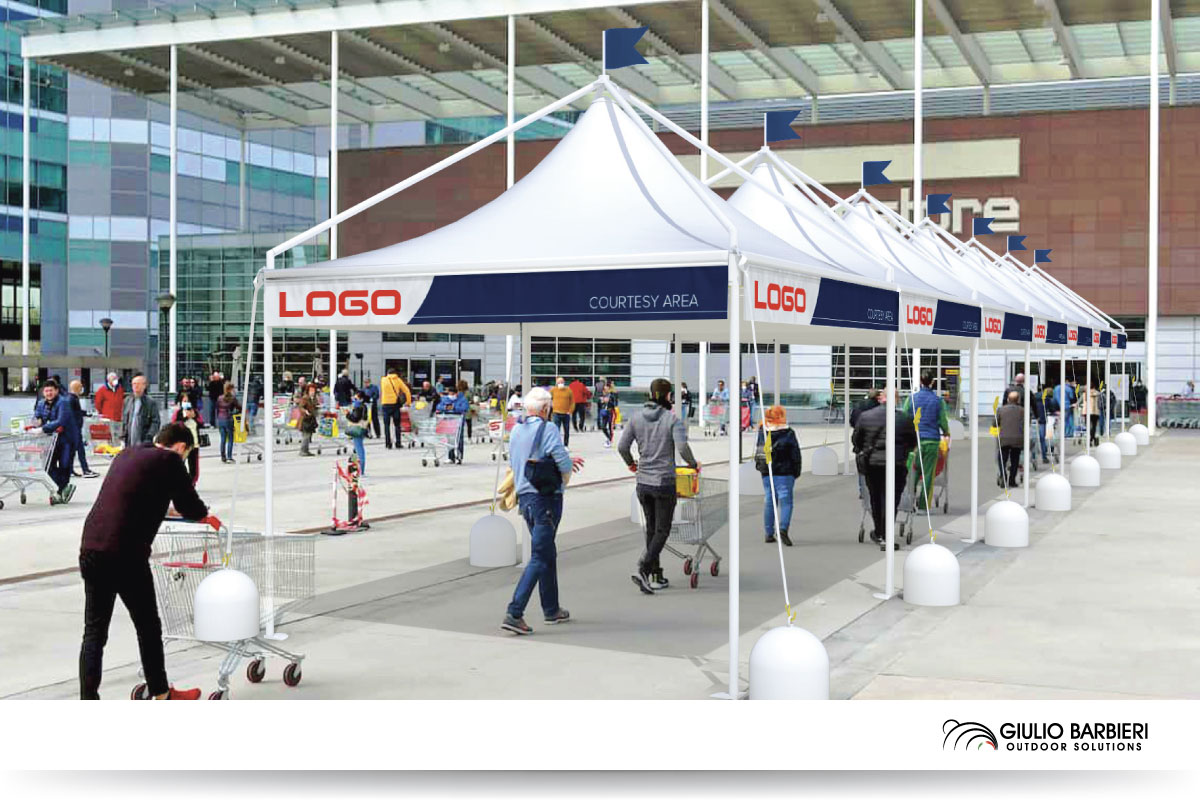 Temporary canopies for queueing areas
