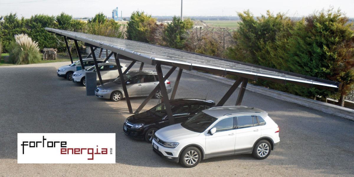 pensilina fotovoltaica in alluminio
