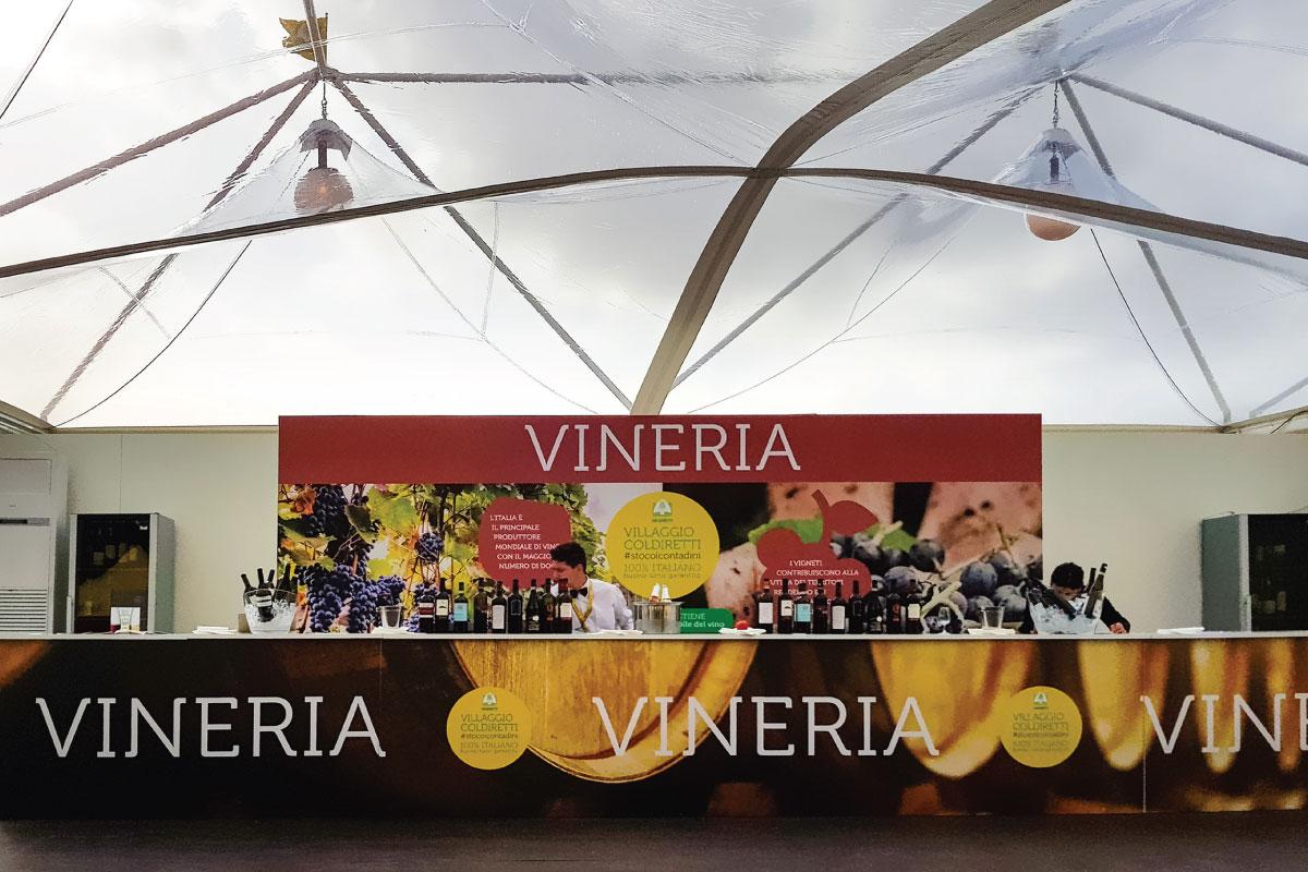 Gazebo personalizzati per la fiera Villaggio Coldiretti