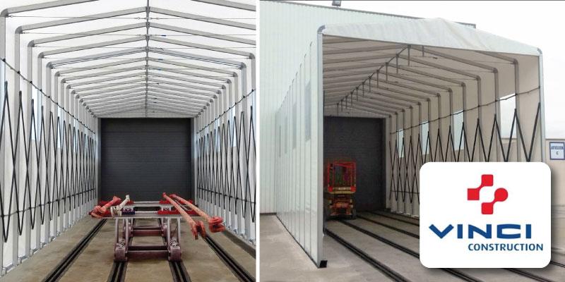 Copertura in PVC retrattile per impianto di verniciatura