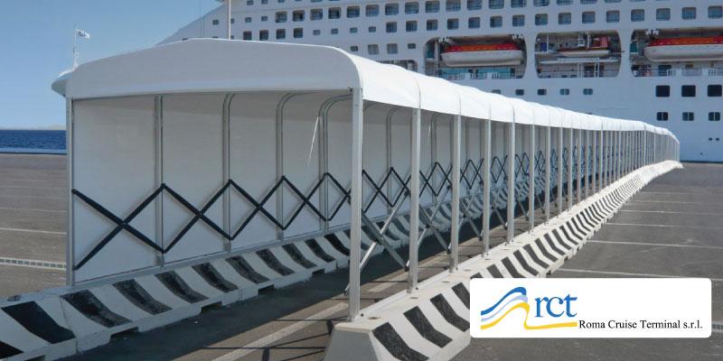 Tettoia di copertura percorso pedonale - porto Roma Cruise Terminal