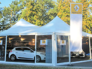 Show room with marquee tent