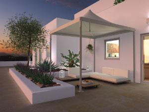 Gazebo di design per l'arredo-giardino. Forma quadrata.