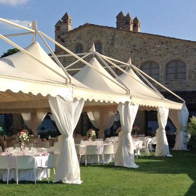 Gazebo in alluminio di grandi dimensioni per eventi, cerimonie, matrimoni, ristoranti, campeggi, villaggi turistici ed agriturismi.