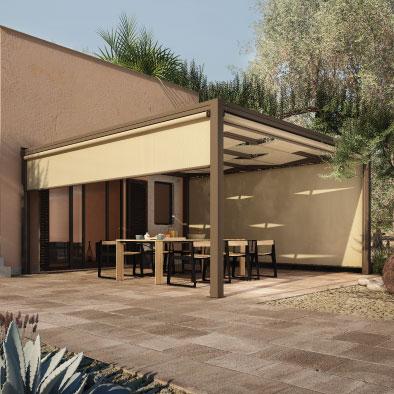 Pergolato ombreggiante in alluminio per il giardino o il terrazzo.