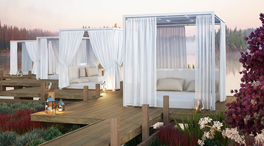 outdoor lounge furniture, outdoor daybed, cabana
