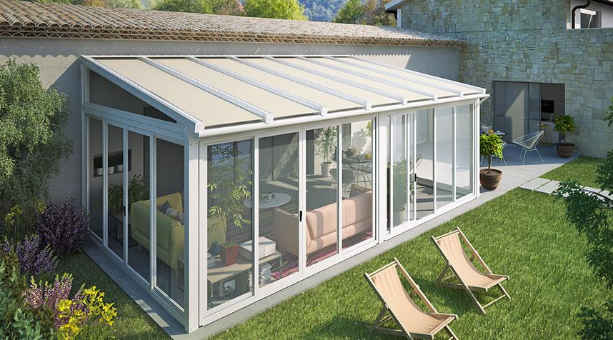 veranda in alluminio, pergola chiusa, giardino d'inverno