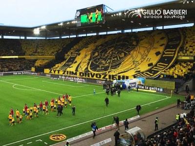 I football tunnel Giulio Barbieri nello Stade de Suisse, uno degli stadi più ecologici d'Europa