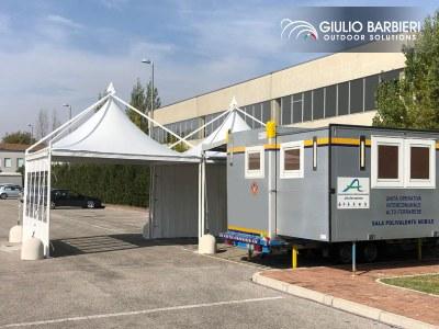 Stazione mobile per i tamponi in auto: il contributo dell'azienda Giulio Barbieri S.r.l.